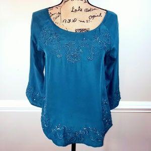 EUC  Lucky Brand green 3/4 slv blouse